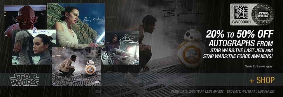 Save up to 50% Off 'The Last Jedi' Autographs from Star Wars Authentics