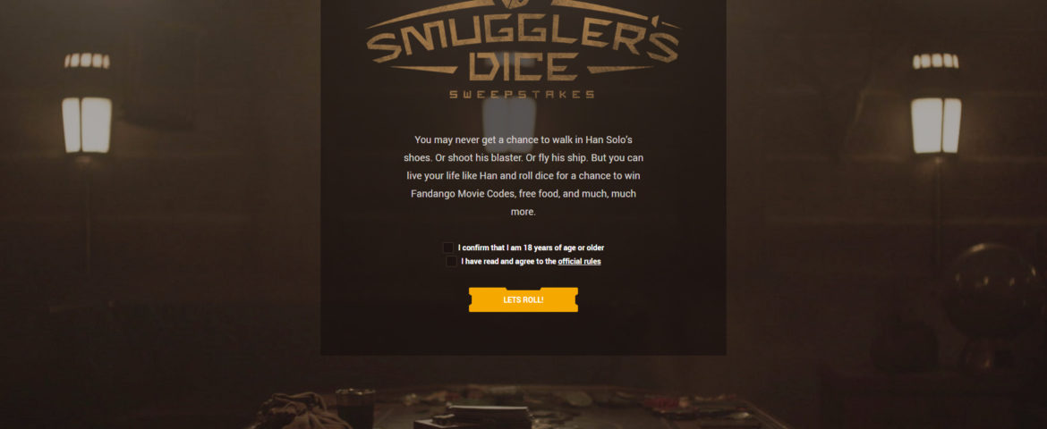 """DENNY'S PUTS FANS AT THE TABLE TO ROLL DICE INSPIRED BY """"SOLO: A STAR WARS STORY"""" AND WIN BIG"""