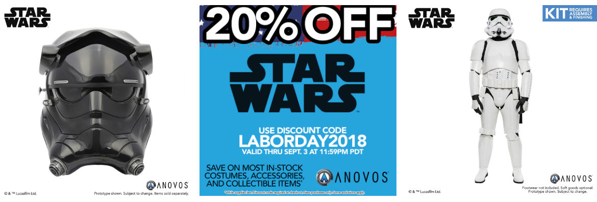 Labor Day Savings! 20% OFF Most Star Wars In-Stock Now at Anovos